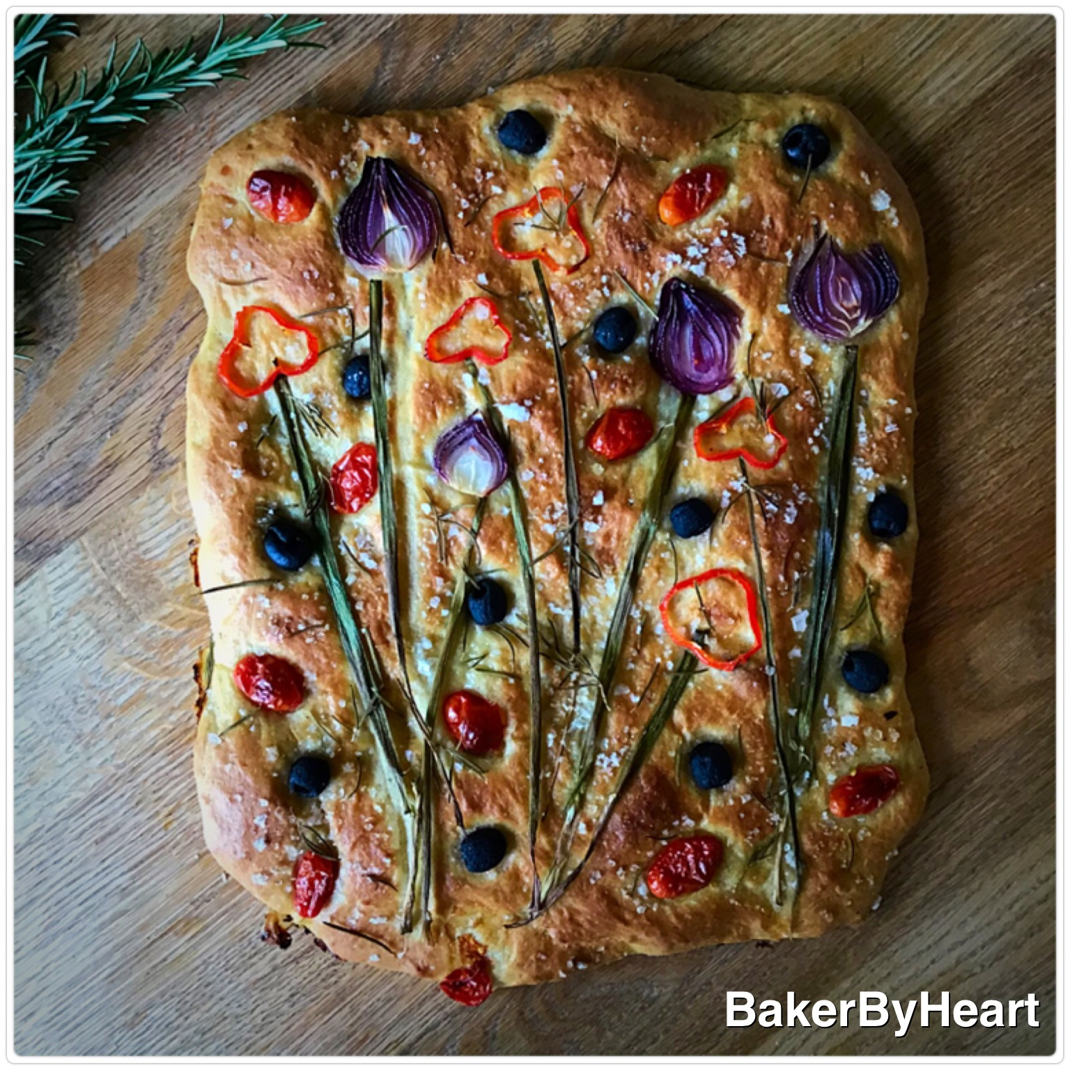 Foccacia med blomster